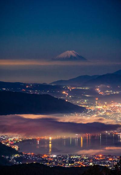 高ボッチ高原 Beauty In Nature Mountain Sky Nature Cloud - Sky Reflection Night Cityscape Environment