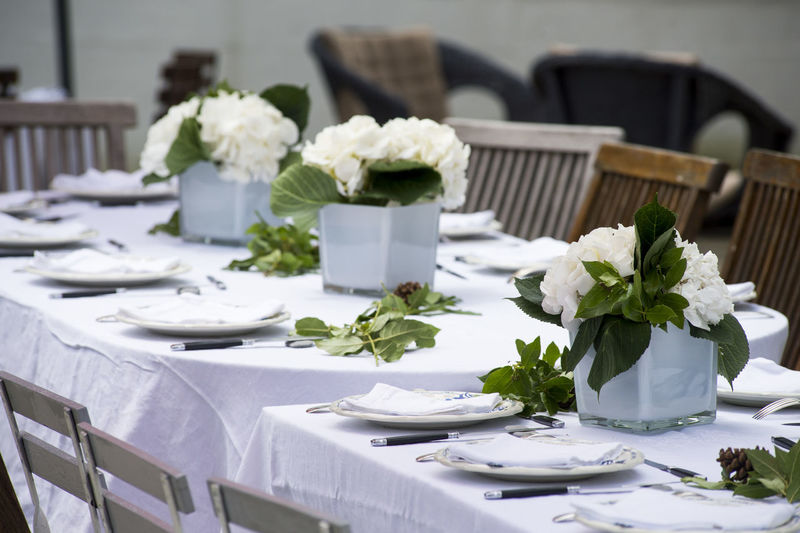 White flowers on table