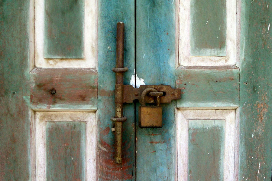 Locked Backgrounds Close-up Closed Day Door Door Handle Doorway Entry Full Frame Keep In Keep Out Latch Lock No People Outdoors Padlock Protection Safety Security Wood - Material