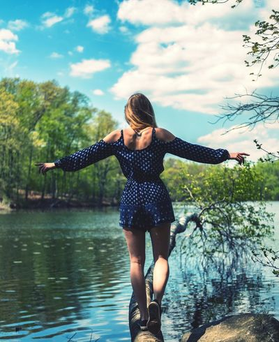 She moves in mysterious ways... Water Young Women Smiling Happiness Women Cheerful Beauty Beautiful People Standing Lake Boho Arms Raised