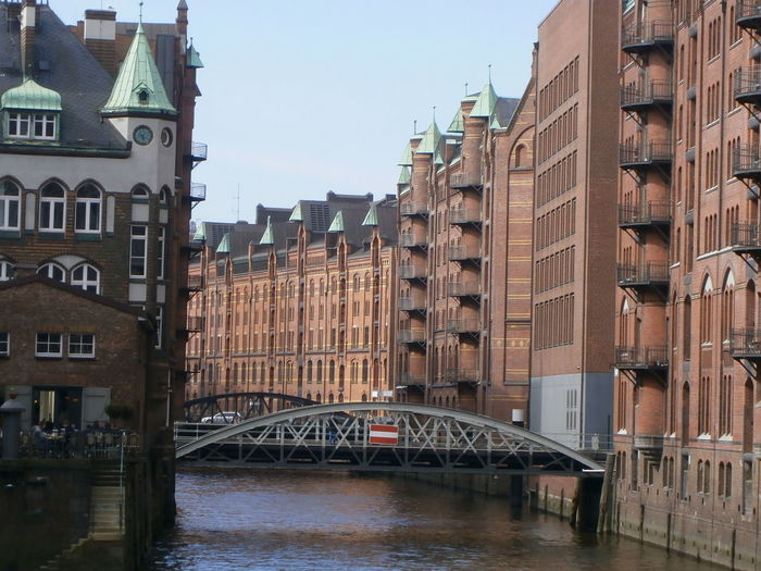 Speicherstadt, a UNESCO World Heritage, in Hamburg, Germany Architecture Bridge Building Exterior Built Structure Canal Connection Germany Hamburg Speicherstadt Hamburg Transportation Water World Heritage Site UNESCO World Heritage Site