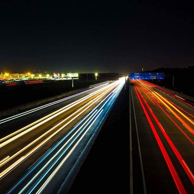 Langzeitbelichtung✔ Frankfurt Am Main Frankfurter Flughafen Autobahnbrücke Autobahn Fotografia ❤