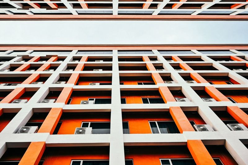 Built Structure Building Exterior Architecture Window Low Angle View Pattern No People Building Orange Color Full Frame Repetition Day Modern Residential District Backgrounds Outdoors Architectural Feature City In A Row Railing Apartment Luxury The Architect - 2019 EyeEm Awards
