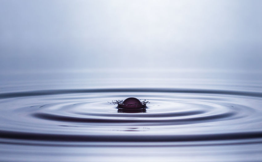 Close-up of drop splashing into water