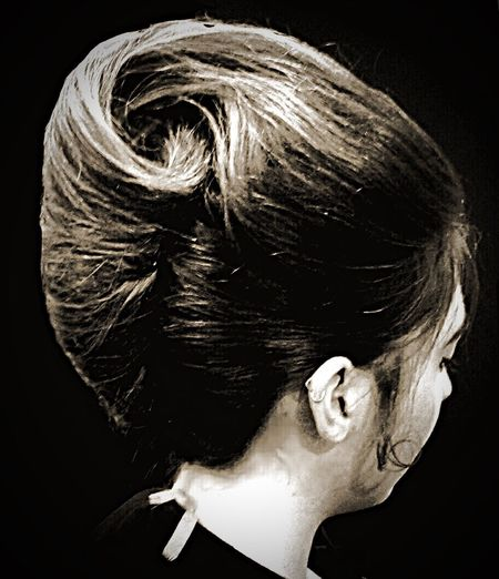 French pleat ✌️ Close-up Beauty Hairstyle Black Background Vintage Fashion Vintage