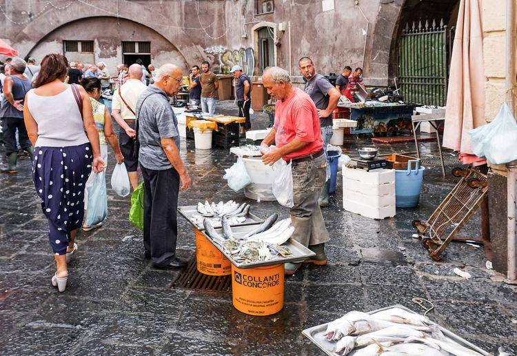 fish market in Catania, Sicily, Italy Real People Group Of People Street Crowd Fish Market Catania Sicily Travel Destinations Sale Vendor Tourism Italy Streetphotography Street Photography
