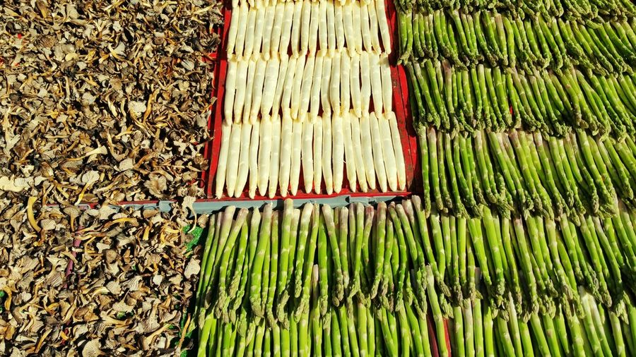 Fresh Asparagus With Radish For Sale At Market Stall