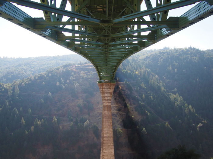 Underneath view of bridge on mountain