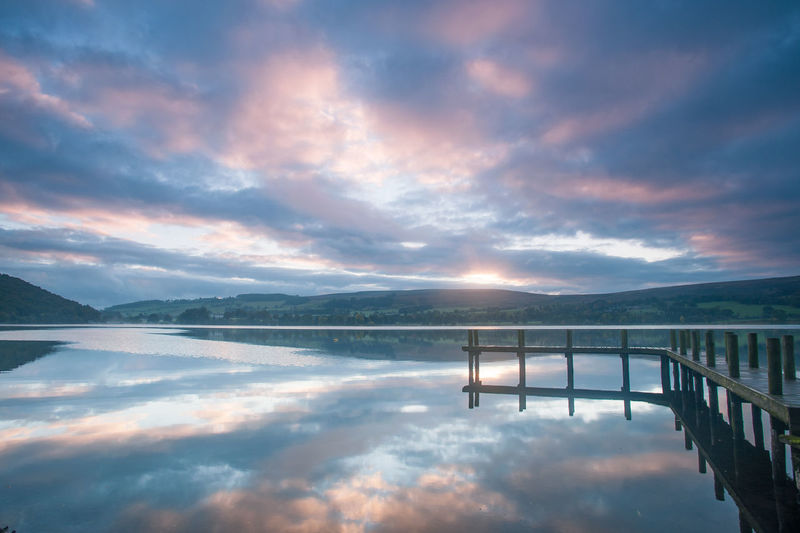 Lake District Ullswater Beauty In Nature Cloud - Sky Connection Idyllic Jetty Lake Mountain Mountain Range Nature No People Non-urban Scene Outdoors Reflection Scenics - Nature Sky Sunset Tranquil Scene Tranquility Water Waterfront
