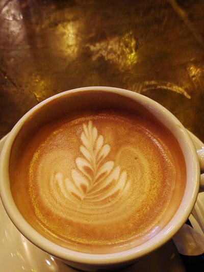 Close-up of cappuccino coffee