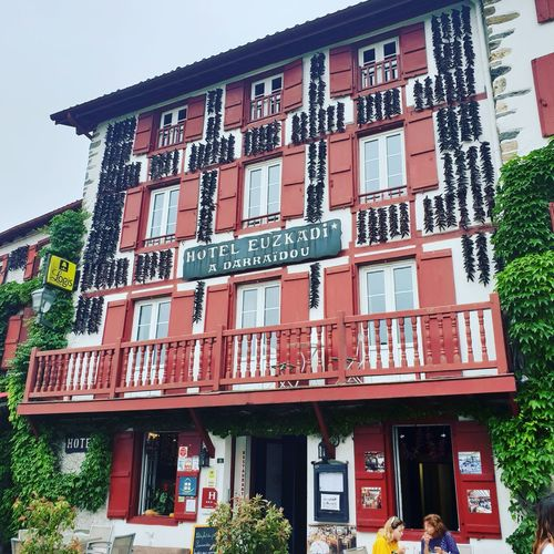 village d'Espelette Holidays Espelette France Pays Basque City Store Text Awning Architecture Building Exterior Built Structure