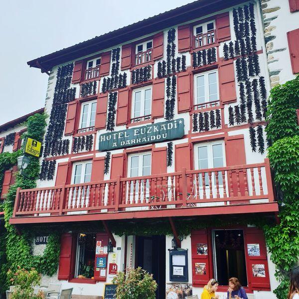 village d'Espelette Holidays Espelette France Pays Basque City Store Text Awning Architecture Building Exterior Built Structure