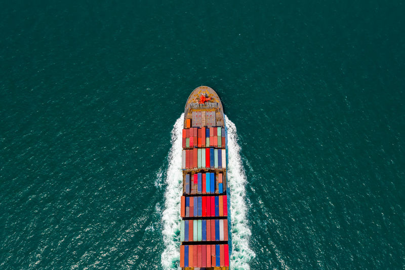 High angle view of red boat in sea