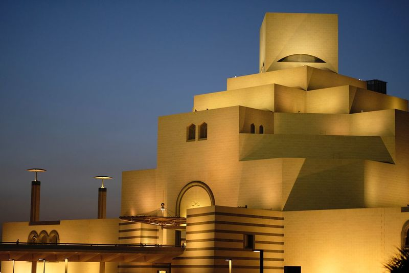 Museum of islamic art Culture Museum Of Islamic Art Museum Architecture Building Exterior Built Structure Building Sky Dusk No People City Blue Tower Low Angle View Outdoors Clear Sky Night Illuminated Nature Yellow Travel Destinations Water Residential District