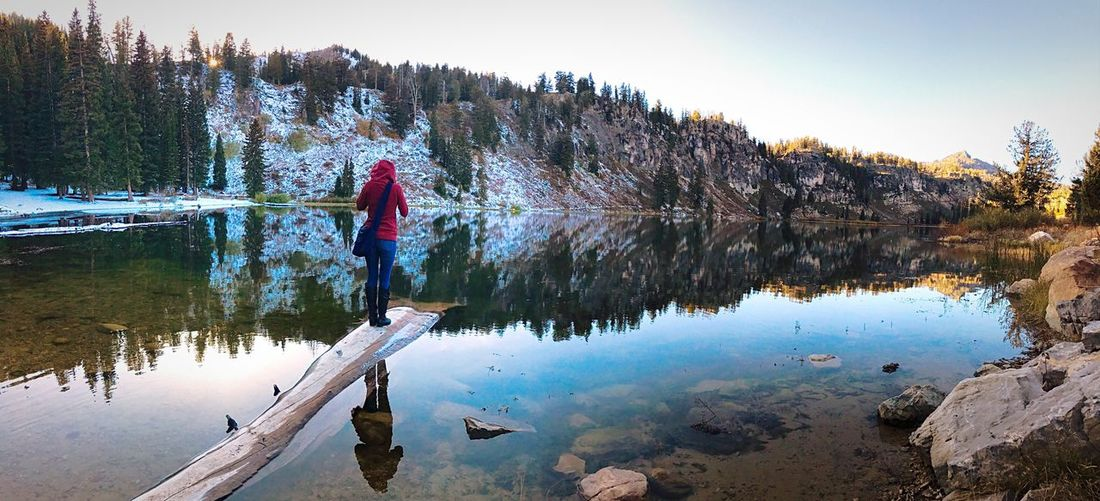 Rear view of woman standing on driftwood in lake during winter