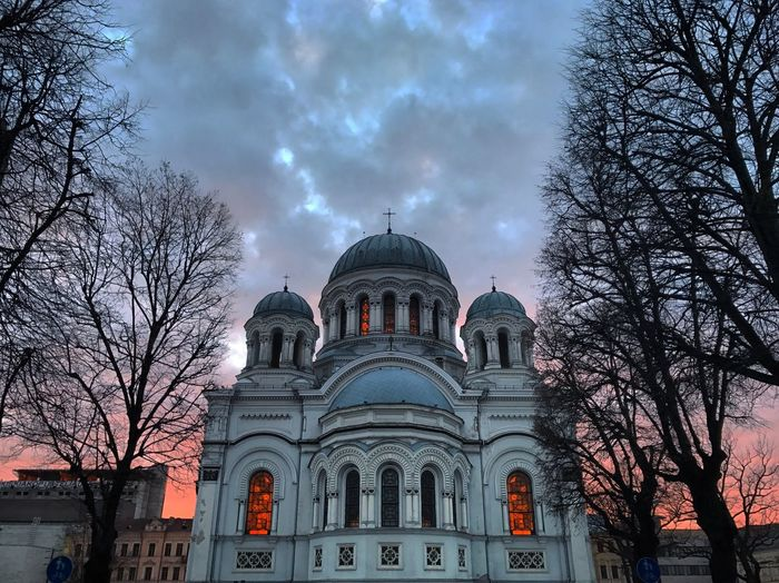Kaunas Laisves Aleja Kaunas Soboras Sky Architecture Built Structure Religion Low Angle View Cloud - Sky Building Exterior Place Of Worship