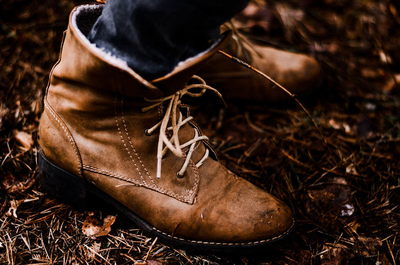 Brown One Person Field Close-up Shoe Land Nature Day Focus On Foreground Boot Dry Pair Shoelace Real People Selective Focus Dirt Leather Low Section Leaf High Angle View Leaves Poland Wildlife Wild Kaszuby
