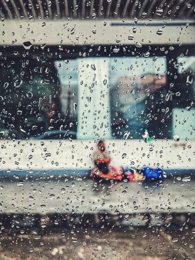 Raindrops on glass window