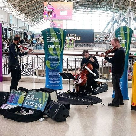 A three piece playing for charity.. Classical Classicalmusic Music LiveMusic Violin Bass Uprightbass Threepiece Galleria Hatfield Hertfordshire Performance Shoppingcentre Chairty Macmillan