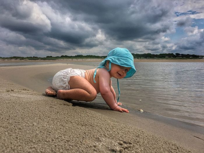 Giant baby babysdayout Beach summer Water Innocence Outdoors Lifestyles Leisure Activity Full Length Child Day Nature Sea Real People Side View