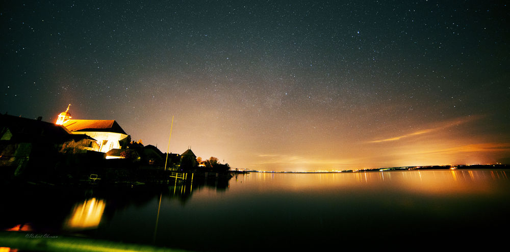 Astronomy Building Exterior Coppet From Where I Stand Illuminated Lake Nature Night Reflection Silhouette Sky Star - Space Star Field Tadaa Community Tranquil Scene Water