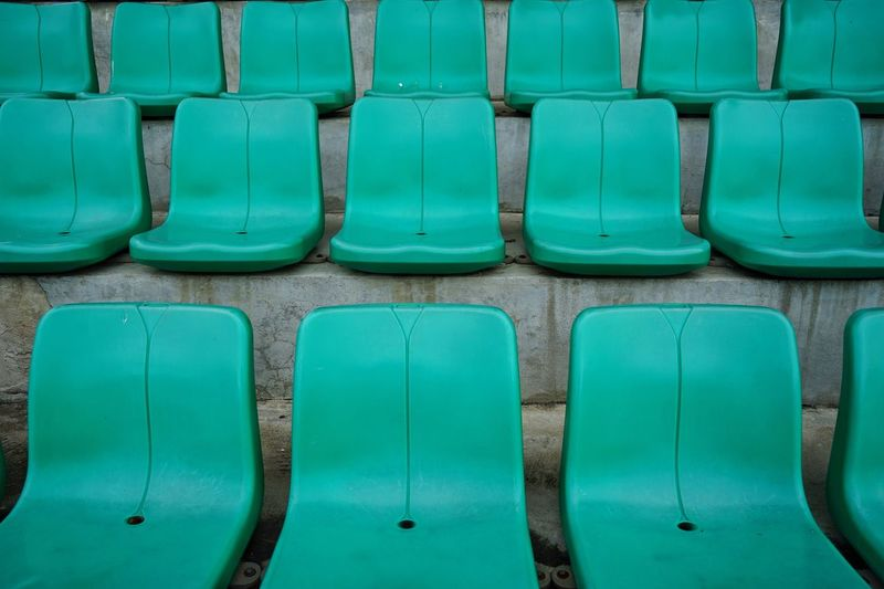 In A Row Repetition No People Green Color Full Frame Backgrounds Day Seat Conformity Outdoors