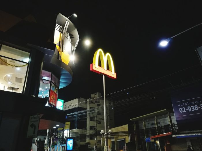 McDonald's Outside Outdoors McDonald's Night Light Neon City Illuminated Nightlife Communication Text Architecture Building Exterior Built Structure