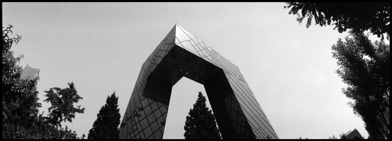 The CCTV Broadcasting Center Beijing ASIA Analogue Photography Architecture Beijing Beijing View Bold Architecture CCTV Broadcasting Building China TV City Media China Panoramic Twopod Black And White Cctv China Concrete Contrast Metropolis No People Urban