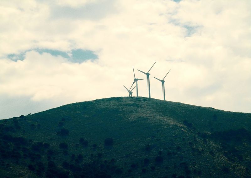 How Do You See Climate Change? Wind Energy Turbine Wind Turbine Hill Greece Cephalonia