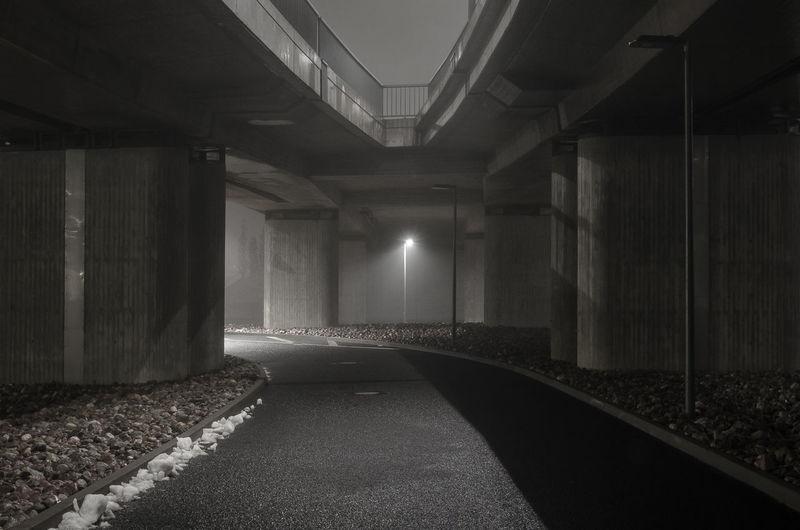 Empty corridor at night