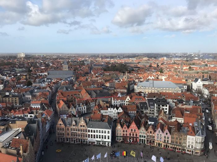 🍪🏠 Belgium Clouds Cloud Sky Colorful Scenic View Bruges Brugge Architecture Sky Cloud - Sky Building Exterior Built Structure City Cityscape Building Crowded High Angle View Town TOWNSCAPE