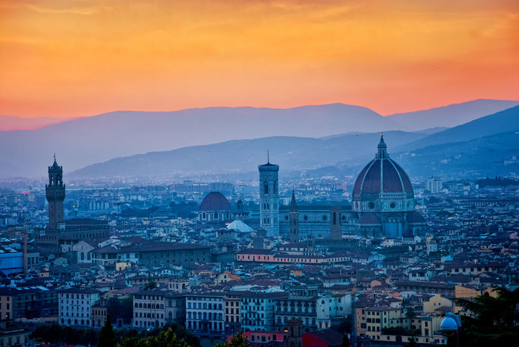 Basilica Minor Florence, Italy Piazza Del Duomo Santa Maria Del Fiore, Florence Architecture Building Building Exterior Built Structure City Cityscape Crowded Dome High Angle View Mountain Mountain Range Nature Orange Color Outdoors Place Of Worship Religion Residential District Santa Maria Del Fiore Sky Sunset