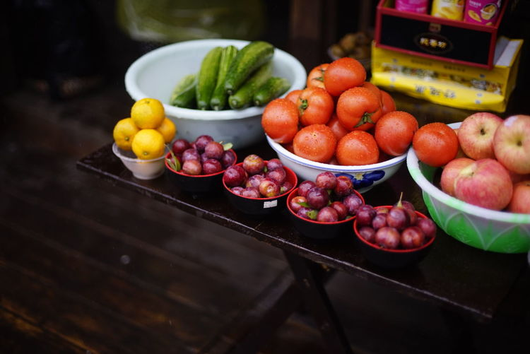 Close-Up Of Fruits And Vegetables For Sale