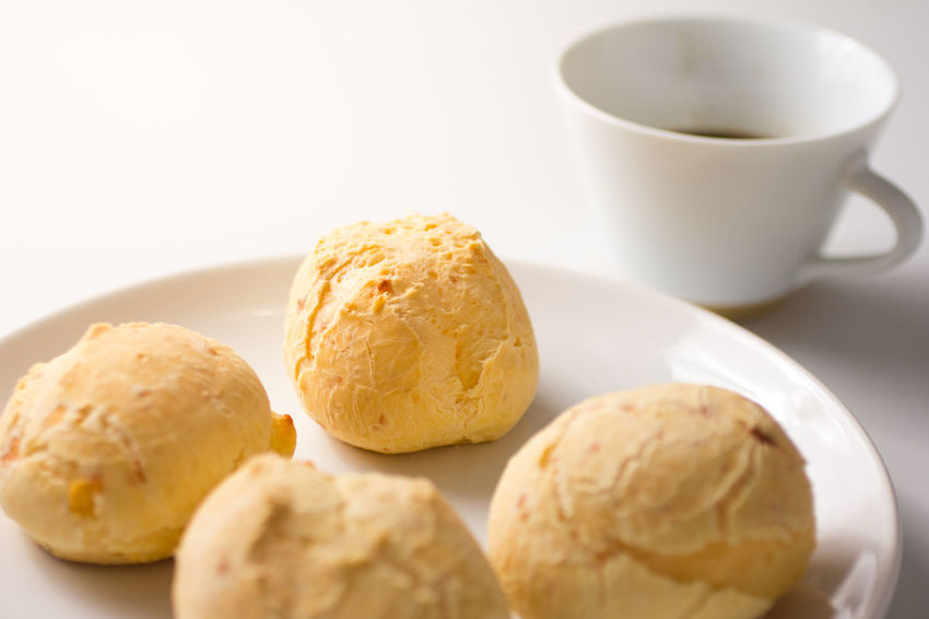 Pão De Queijo Chipa Close-up Coffee - Drink Coffee Cup Day Dessert Food Food And Drink Freshness Ice Cream Indoors  No People Plate Ready-to-eat Sweet Food White Background