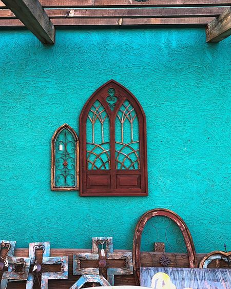Window and crosses Architecture IPhoneography Mexican Culture Window Teal Window Architecture Built Structure Door Building Exterior Day No People Outdoors