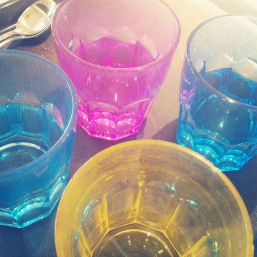 Colorful cups at Kanbaikan Doshisha