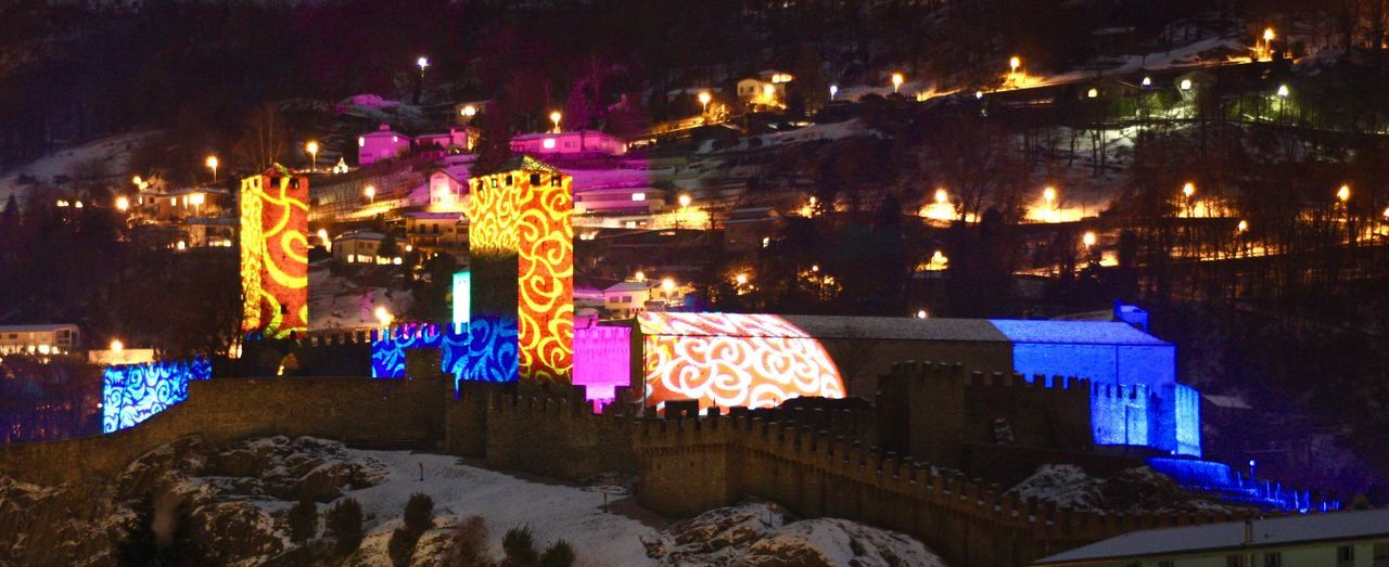 Illuminated Night Building Exterior Outdoors Multi Colored Celebration Event Colorful Switzerland TICINO ♡ UNESCO World Heritage Site Medieval Check This Out Castelgrande Bellinzona The Traveler - 2018 EyeEm Awards