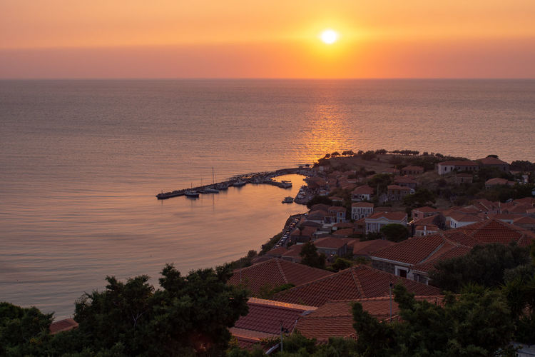 Outdoors Greece Lesvos Lesbos Island Greek Islands No People Water Vacations Holiday Sunset Architecture Sun Sea Sky High Angle View Village