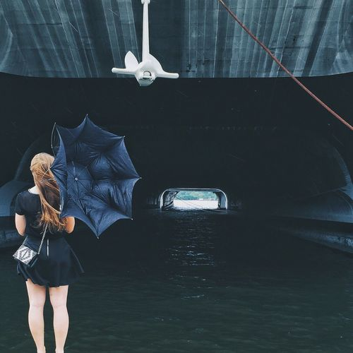 The Portraitist - 2016 EyeEm Awards VSCO Windy Weather Drizzle Woman Umbrella Black Dress Shipyard Ship Pier Faceless Philadelphia Navy Yard Nautical