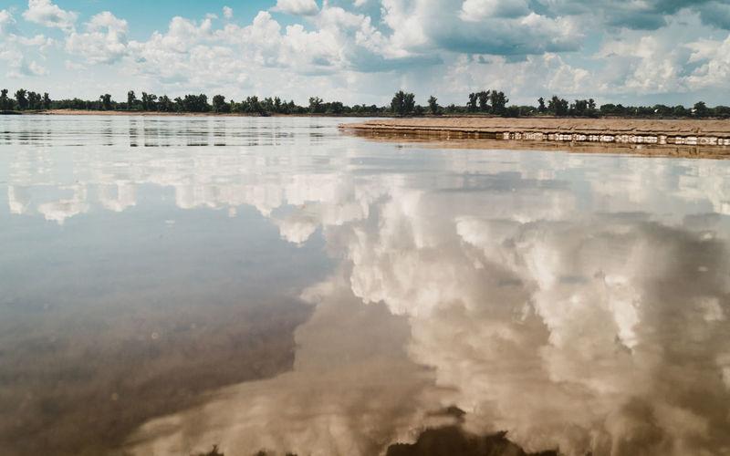 Panoramic shot of lake against sky