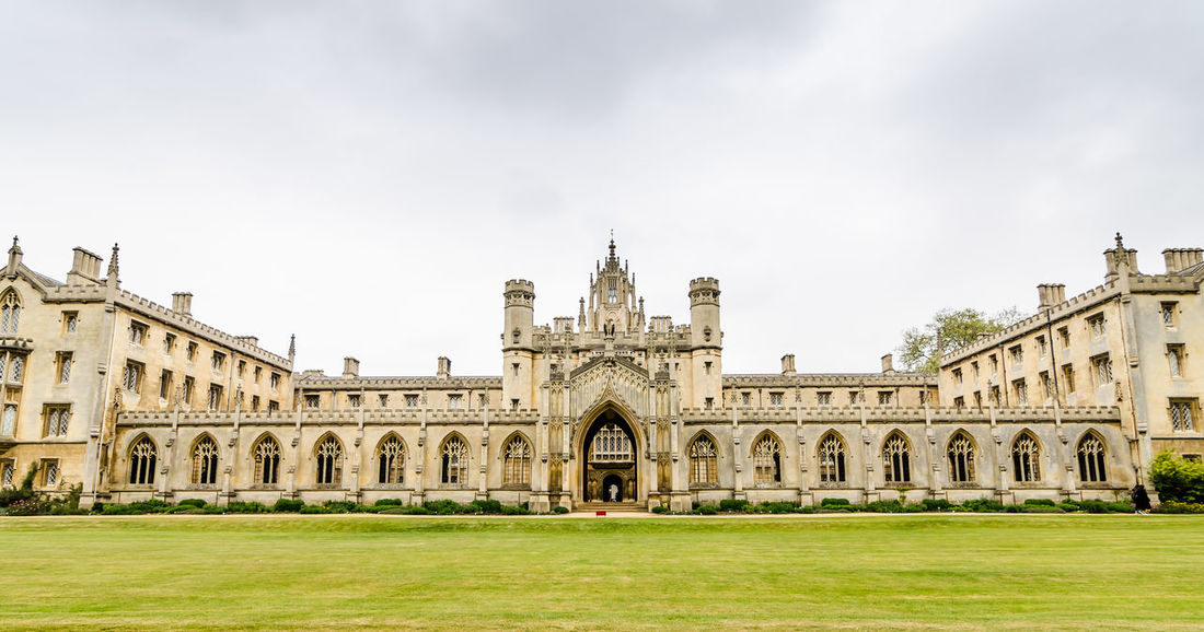 Arch Architecture Building Exterior Built Structure Cambridge, United Kingdom Day Dream School Education Grass History King's College King's Parade No People Outdoors Sky Tourism Travel Destinations Trourism United Kingdom
