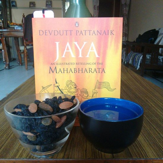 Essentials for a lazy day in. Goodread Mahabharata Mythology India Dryfruits Warmwater Relax Rejuvinating Needed  Adaytotheweekemd