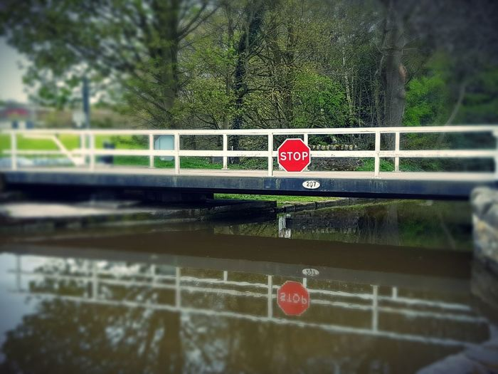 Stop Forbidden No Entry Canal Canals And Waterways Barging Canal-side Waterscape Footbridge Reflection