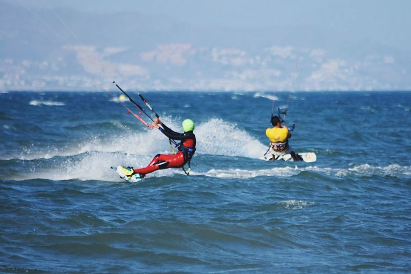 Crossing... up!!! Kitesurfing Sport Water Sea Adventure Motion Two People Real People Aquatic Sport Extreme Sports Lifestyles Wave Summer Sports
