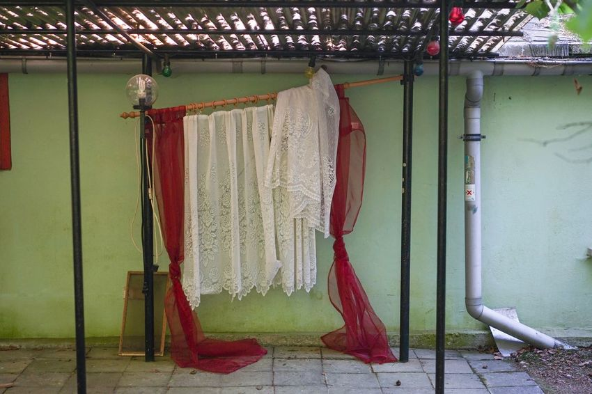 Sommerhaus, später, später Studio Curtains Backdrop Hanging No People Architecture Built Structure Wall - Building Feature Indoors  Textile Clothing Building Day Red Arts Culture And Entertainment