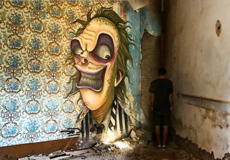 What are you doing? StreetArt By DavidL Photographic Approximation Abandoned Art Lament On Human Condition Forgotten Dreams New Nightmares