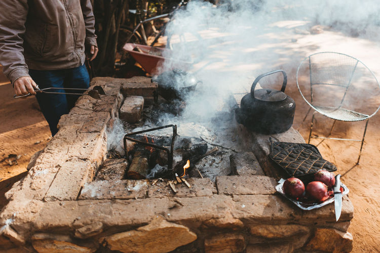 Cooking breakfast and coffee over open fire to start the day in nature Camp Fire Camping Cooking Fire Grill Open Fire Cooking Outdoor Recreation Outdoors Pots The Great Outdoors - 2018 EyeEm Awards The Traveler - 2018 EyeEm Awards My Best Travel Photo