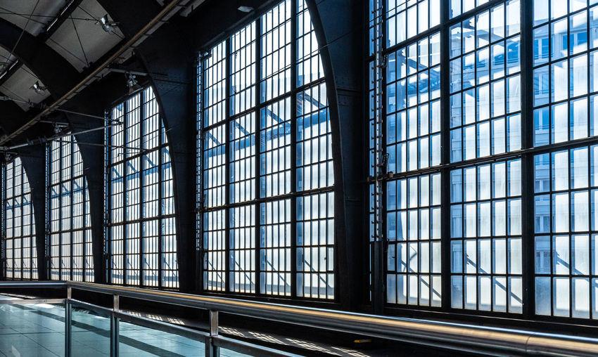 Interior of modern railway station