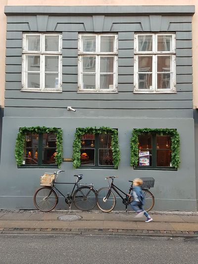 EyeEmNewHere Building Exterior Child Running Boy Running Windows Doors Childhood Running Speed Blurred Copenhagen, Denmark Blonde Boy Parked Bike Bicycle EyeEmNewHere The Street Photographer - 2017 EyeEm Awards