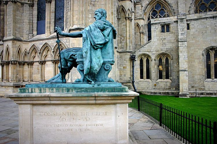 Constantine The Great Constantine In York Seated Statue Bronze Statue York Minster  Cathedral Gothic Architecture South Transept Of York Minster Emperor Of Rome
